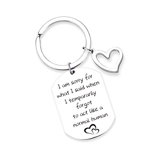 Apology Gift Sorry Jewelry Sorry gift Idea for Apologizing I'm Sorry Keychain Sorry Gift for her-I Am Sorry For What I Said When I Tempararily Forgot To Act Like a Normal Human (KN-I am sorry20190617)
