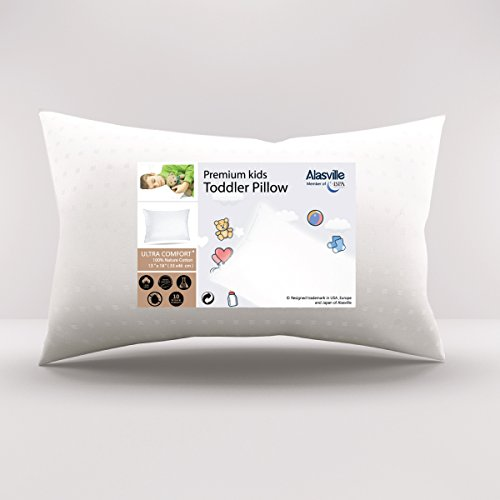 (Soft Hypoallergenic Breathable Toddler Pillow - ALASVILLE Antibacterial & Anti-mite Sleeping Pillows for Kids/Baby/Children, Come with Ultra Soft Dot Cover Pillowcase, 13