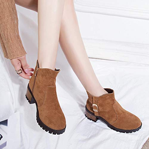 Boots Block Fashion Shoes Suede Martain Toe Heel Faux Theshy Brown Women Casual Boot Heeled Medium High Boots Round Boots Ankle Zipper with FfXfvnO