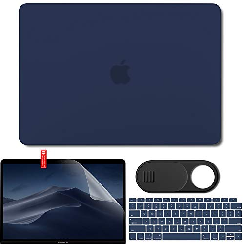 GMYLE MacBook Air 13 Inch Case 2018 Release New Version A1932 with Retina Display Touch ID, Smooth Plastic Hard Case Shell, Privacy Webcam Cover Slide, Screen Protector and Keyboard Skin - Navy Blue