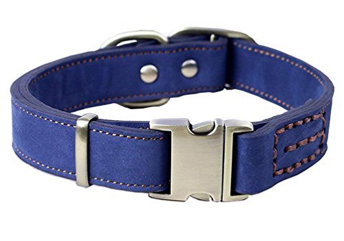 Tellpet Real Leather Dog Collar with Quick Release Buckle fo