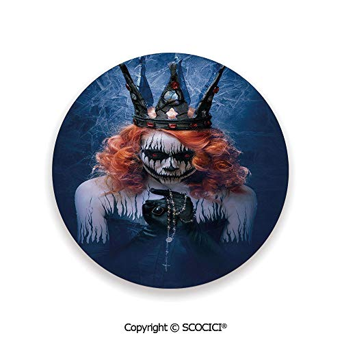Ceramic Coasters with Cork Base, Prevent Furniture from Dirty and Scratched, Suitable for Kinds of Mugs and Cups,Queen,Queen of Death Scary Body Art Halloween Evil -