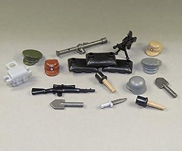 CUSTOM WW2 ARMAS Set 17 Partes Gorros Cascos ARMAS Sacos para figuras lego