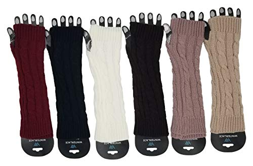 6 Pairs Arm Warmers for Women, Cable Knit Warm Winter Sleeve Fingerless Gloves (Assorted B)