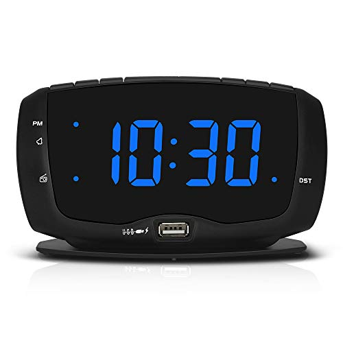DreamSky Digital Alarm Clock Radio FM Radio, 1.4 Inches Large Blue LED Number Display, Dual USB Ports for Charging, 3.5 mm Headphone Jack, Snooze, DST