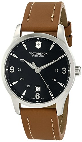 Victorinox Swiss Army Men's 241475 Alliance Black Dial Brown Strap Watch