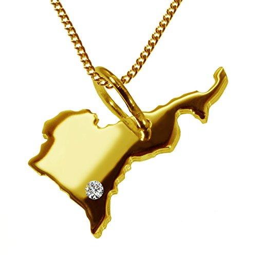 Endroit Exclusif Cameroun Carte Pendentif avec brillant à votre Désir (Position au choix.)-avec Chaîne-massif Or jaune de 585or, artisanat Allemande-585de bijoux