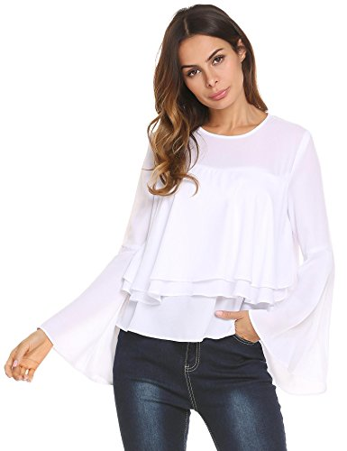 Concep Women's Casual Chiffon Top Ruffle Layered Blouse Bell Sleeve Flowy T Shirts (White, XL)
