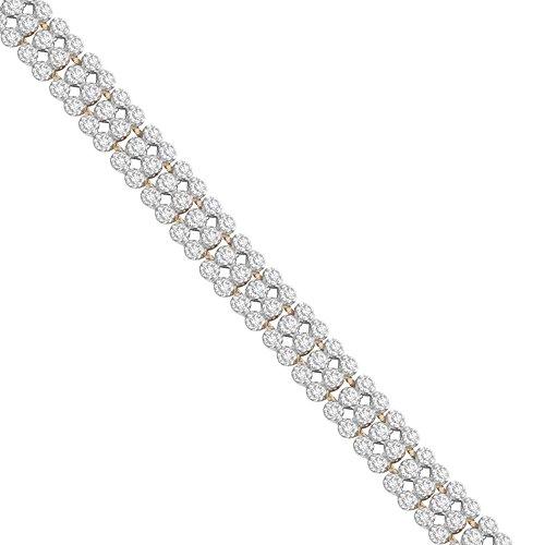 Pavé Privé Chaîne en or jaune 9carats avec diamants blanc 3Line Bracelet de 19,05cm