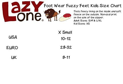 LazyOne Unisexe Classic Moose Rouge Enfant Fuzzy Pantoufles 29-32