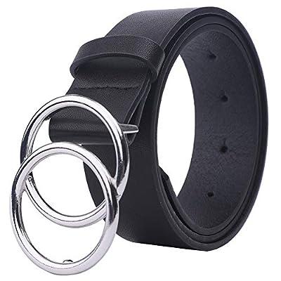Tanpie Women's Leather Belt Fashion Double O Ring Buckle Designer Belts for Pants Jeans Dresses