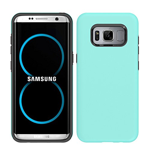 Price comparison product image Galaxy S8 Case,  HLCT Beautiful Design Slim Fit Thin,  Interior TPU Bumper & Hard PC Back,  Shock-Absorption Hybrid Dual-Layer Cover (Teal)