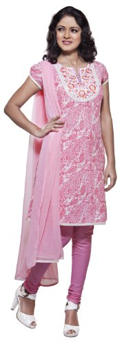In-Sattva Womens Indian Ethnic Embroidered Kurta Tunic With Churidaar & Dupatta Set Pink Small