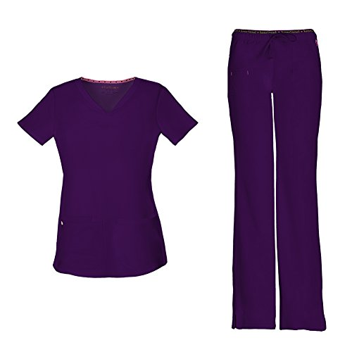 - HeartSoul Women's Pitter-Pat Shaped V-Neck Scrub Top 20710 & Heartbreaker Heart Soul Drawstring Scrub Pants 20110 Medical Scrub Set (Eggplant - Small/Small)