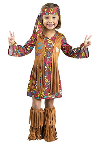 Fun World Costumes Baby Girl's Peace and Love Hippie Toddler Costume, Brown, (Kids Hippie)