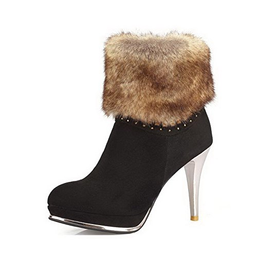 Low Round Closed Stilettos Zipper Spikes Boots Toe Frosted Women's Allhqfashion Black Top FRqcZTq