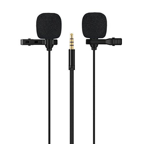 Professional Lavalier Microphone, Ashinas Dual Head Professional Condenser Lavalier Lapel Mic With 1 Adapter for Apple Products iPhone and Android Smartphone, iPad, iPod (Compact Omni Directional Microphone)