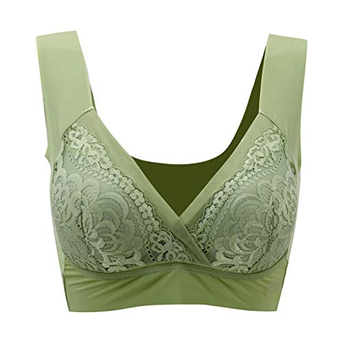 Sports Bra Women High Neck Yoga Sports Bra Low Impact for Gym Pilates Workout Sexy Air Permeable Extra Support Wirefree Lace Bra (3XL,Green) -