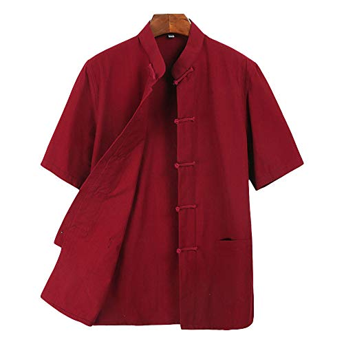(ZooBoo Men 's Tang Suit Summer Short - Sleeved Shirt Cotton Shirts (XXL, Wine Red))
