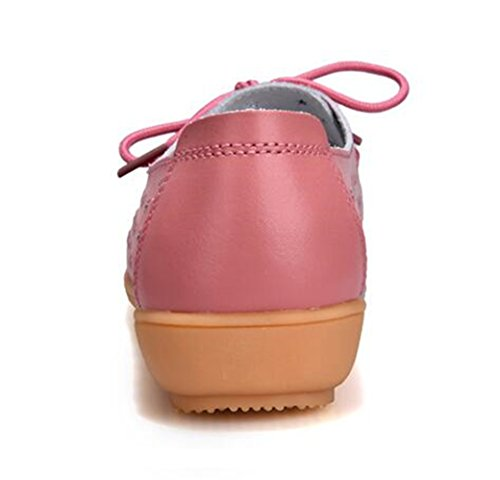 Driving US On 9 Hollow Boat B Shoes Slip Loafer Casual Bumud Pink M Summer Women's Out Flat Leather OYpwc7agq
