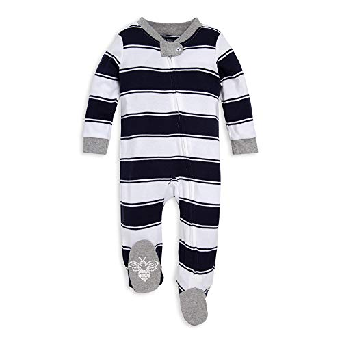 Burt's Bees Baby Unisex Baby Sleep & Play, Organic Pajamas, NB-9M One-Piece Zip Up Footed PJ Jumpsuit, Navy Blue Stripes, 3-6 Months