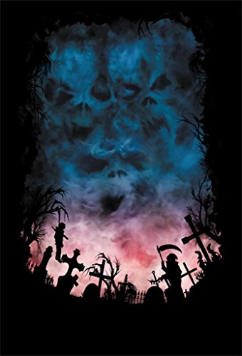 AOFOTO 3x5ft Horror Sky Like Skull Monster Face Photography Backdrop Grunge Scary Cemetery Background Misty Gloomy Grave Gothic Halloween Cross Tombstone Creepy Hang Vampire Sickle Reaper Studio Props