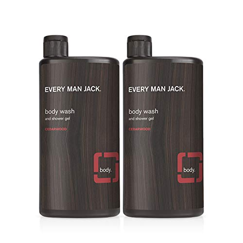 Every Man Jack Men's Body Wash - Cedarwood   16-ounce Twin Pack - 2 Bottles Included   Naturally Derived, Parabens-free, Pthalate-free, Dye-free, and Certified Cruelty Free