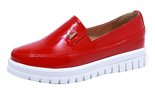 AllhqFashion Women's Patent Leather Round-Toe Low-Heels Pumps-Shoes, Red, (Women Patent Leather Shoes)
