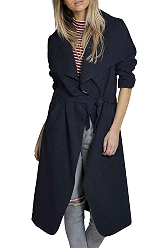 Pink Queen Ladies Stylish Navy Blue Wool Outwear Jacket Winter Thin Trench Coat
