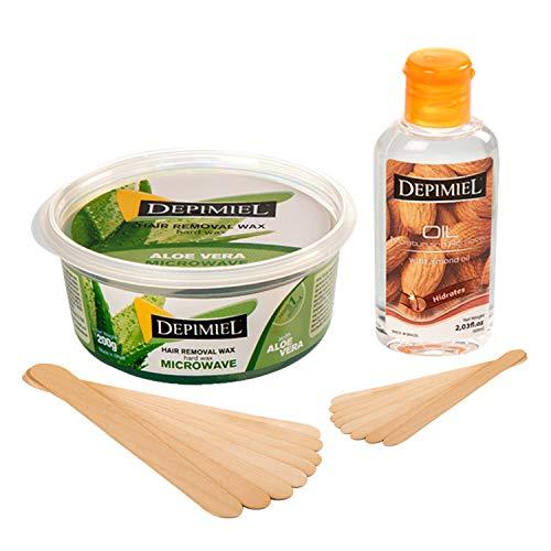 Aloe Vera Microwave Wax Kit - Hair Removal Hard Wax 7oz, 8 Large Wax Sticks, 8 Medium Applicators, 1 Oil Wax Remover 2fl.oz - Hot Microwavable Wax - Stripless Wax - Self Waxing Face, Eyebrows, Legs