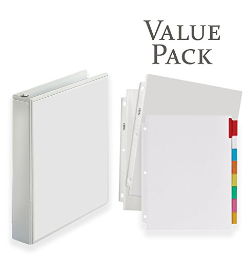 3-Ring Binder, Presentation View Binders - with 20 Top-Loading Poly Clear Sheet Protectors - and Big Tab Insertable Extra Wide Dividers, 8 Multi-Color Tabs - Value Pack (1.5 inch, White) (Tabs Clear 20)