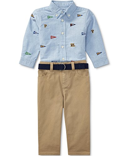 Baby Boys Oxford Blue Pants - Baby Boys Oxford Shirt & Chino Pants Set, Blue/Khaki Stone, 6M