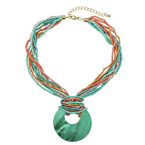COIRIS Multi Strand Statement Colorful Beaded Necklace with Big Circle Shell Pendant for Women (N0055) -