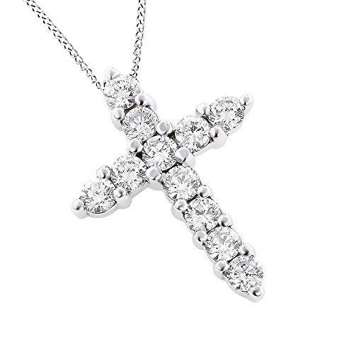KOREA-JIAEN 18K White Gold and Rose Gold Plated Base with 5A Cube Zircon Diamonds Cross Pendant Necklace (White-Gold)