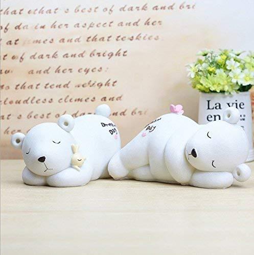 JINGB Sleeping Polar Bear Piggy Bank Home Decor Student Gift (White) Desktop Decor Money Box