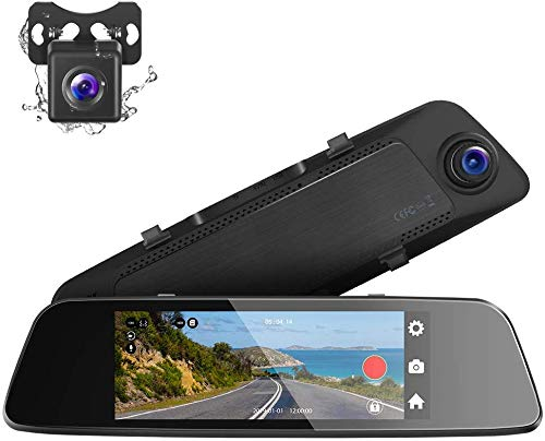 Crosstour Dual Mirror Dash Cam, Waterproof Rear View Backup Camera,7 Full 1080P IPS Touch Screen 290° Wide Angle Cam with G-sensor, Parking Monitor, Loop Recording