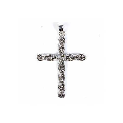 Precious Gem Jewellers Sterling Silver Twisted Marcasite Cross ()