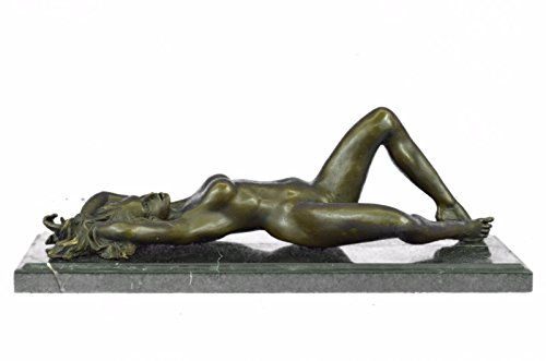 Art Deco Bronze Statue - Handmade European Bronze Sculpture Signed Original Mavchi Nude Woman Daydreaming Art Deco Figurine Bronze Statue -1X-ST-050-Decor Collectible Gift