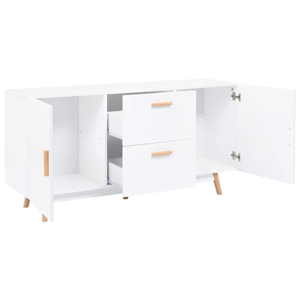 Tidyard Aparadores Vintage Aparador Cocina Aparador de MDF y Patas de Madera de Caucho Blanco 140 x 40 x 70 cm con 2 Cajones y 2 Compartimentos de Almacenaje