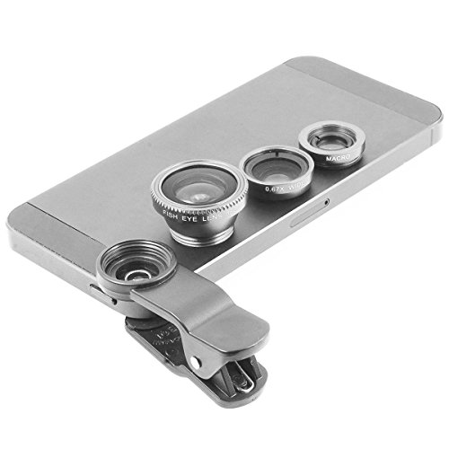 Gray Universal Clip-on 180 degree 3 in 1 Fisheye+Wide Angle+Macro Camera Lens for iPhone 5 5S 4 4S 6 Samsung Galaxy S5/S4/S3 Note 4/3/2 HTC Blackberry Bold Touch, Sony Xperia, Motorola Droid