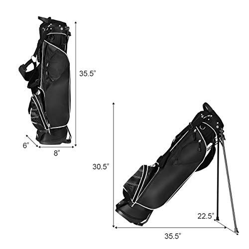 Tangkula Golf Stand Bag, Lightweight Organized Sunday Bag Easy Carry Shoulder Bag with 3 Way Dividers and 4 Pockets, Black