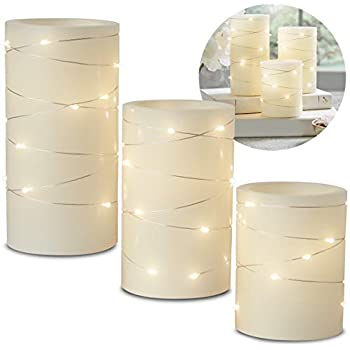 Laura Ashley 3-Piece LED Candle Set with Daily Timer, Flameless Candles, Made of Real Wax, Battery Powered Electronic Candlelight, Embedded String Lights Stay Lit, Tiered Pillars