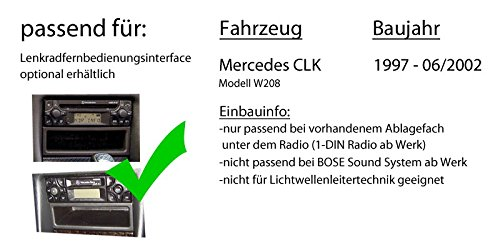 Einbauset f/ür Mercedes CLK W208 DAB+ Digitalradio Antenne JUST SOUND best choice for caraudio JVC KD-DB67 DAB+ USB Autoradio inkl