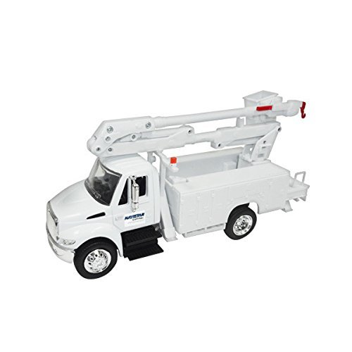 New Ray 15913E 1/43 Scale International 4200 Line Maintenance Bucket Truck - White - Promotional Product - Your Logo Imprinted (Case Pack 12) (Bucket Utility Trucks)