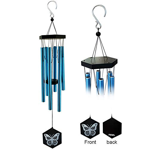 FONMY Wind Chimes Outdoor Amazing Melodic Chimes Nature Bamboo with 6 Aluminum Tubes Quality Decoration for Garden Patio Balcony Home Outdoor & Indoor Blue Chimes-33 inches Worth Gift Wind Chimes