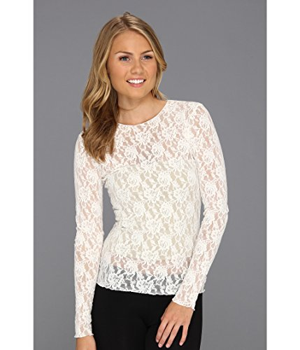 Hanky Panky Signature Lace Tank - Hanky Panky Women's Signature Lace Unlined Long Sleeve Top, Marshmallow, SM