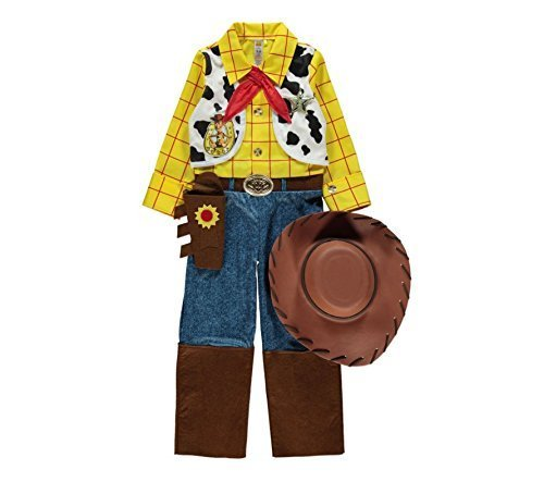 [Officially Licensed Disney Pixar Toy Story Woody fancy dress 5-6yrs Boys Cowboy Costume with Hat, Necktie & Sheriff's Star, Made for 'George' Collection by] (Woody Costume Hat)