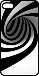 Black & White Half Pipe Swirl Black Rubber Case for Apple iPhone 4 or iPhone 4s by icecream design