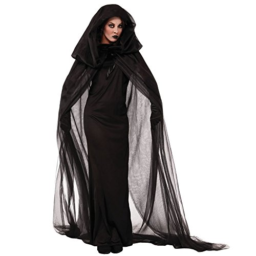 [ZNFQC Woman Dark Witch Halloween Costume Ghost Cosplay Party Dress (XL, Black)] (Adult Vintage Witch Costumes)