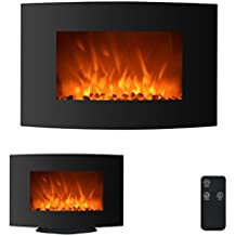 """35"""" 750W/1500W Electric Fireplace 2-in-1 Adjustable Color Curve Glass Wall Mounted and Standing Fireplace Adjustable w/ Remote"""